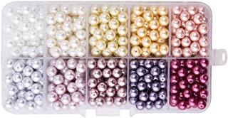 PandaHall Elite 約600個セット 6mm 10色 ミックス 小さな サテン 光沢 ガラスビーズ パール ラウンド 丸玉 箱入り 手芸材料 DIY用 ジュエリー用 UVレジン 封入 ハンドメイド 材料 手作り 素材 混合色