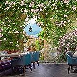 Papel pintado mural imagen 3D Murales Flores de pueblo idílico Fotomural para Paredes Mural Vinilo decorativo 200x140cm decoración comedores, Salones, Habitaciones