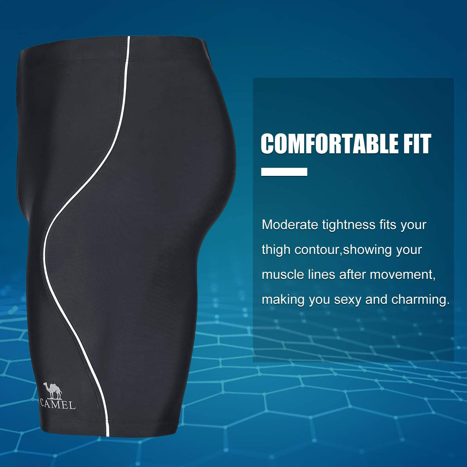 CAMEL Mens Swim Jammer Athletic Durable Swimsuit Polyester Competition Swimwear for Training Racing