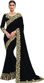 بلوزة نسائية هندية عرقية للحفلات من قماش بوليوود فانسي ساتان جورجيت ساري 5743
