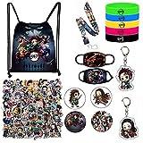 Demon Slayer Merch Gift Set - Including Drawstring Bag Backpack, Stickers, Face M-Asks, Lanyard, Keychains, Bracelets, Button Pins