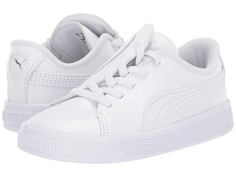 Puma Kids Basket Crush Slip-On (Toddler) (Puma White/Puma Silver) Girls Shoes