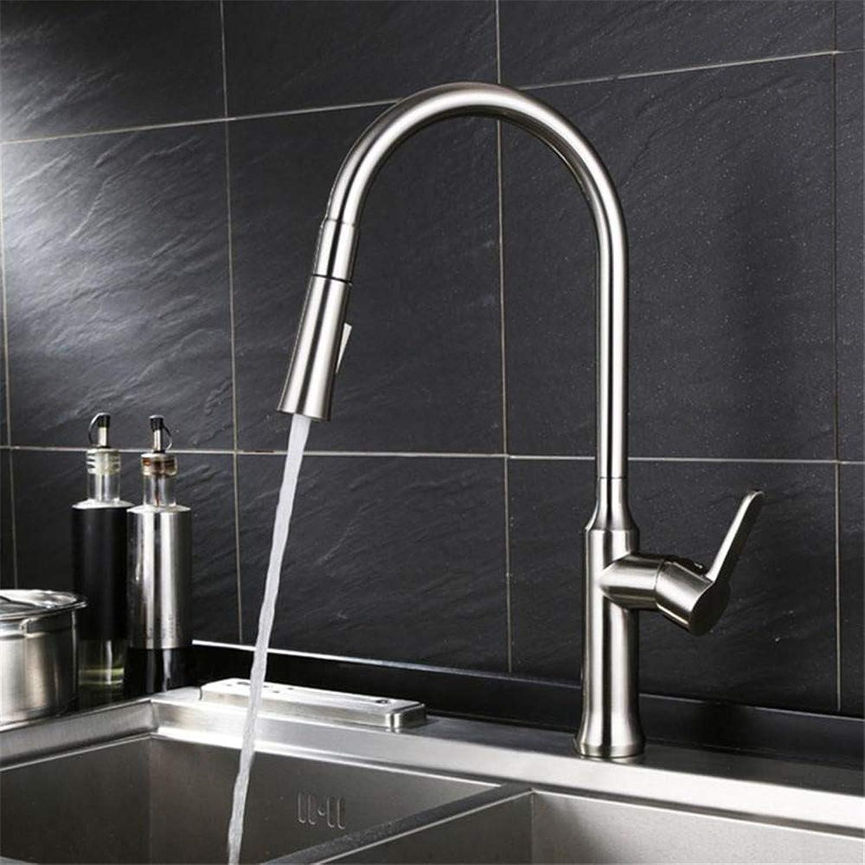 Wasserhahn Küche Waschbecken Badezimmer Messing Material Nickel Bürste Waschbecken Küchenarmatur Langlebig Mund herausziehen Wasserhahn Mischer für die Küche