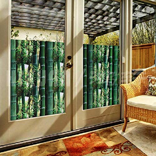 3D Schilderij groen bamboe Statische decoratieve Vensterglasfolie, Zelfklevende Privacybescherming Lijmloze glasstickers zelfklevende folie, 60 x 300 cm