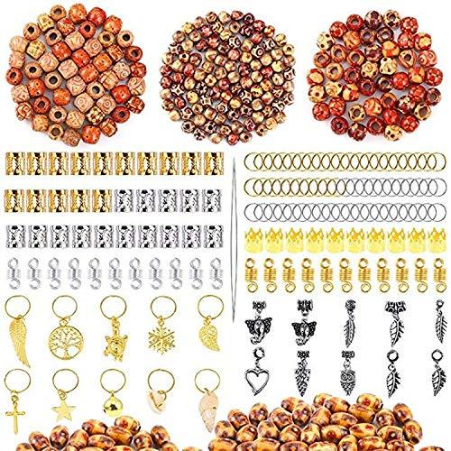 Logo WLYX Cheveux Braid Cuff, Perruque Sale Tresse Boucle Anneau Extension de Cheveux, Grand Trou Imprimé Perles en Bois Pendentif Creux tibétain Fleur Tube