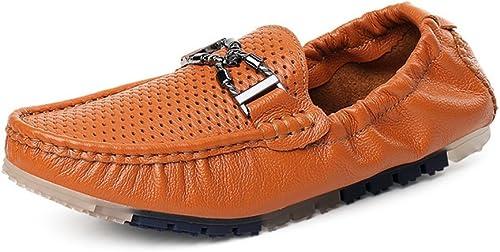IWGRWU Leder Herren Fahren Penny Loafers hohlen oberen Stiefel Mokassins mit Metall-Dekor & hinter elastischen Abendschuhe Schuhe