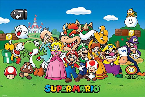 Nintendo - Super Mario Jump and Run Games-Poster Luigi Yoshi Toad Wario - Größe 91,5x61 cm