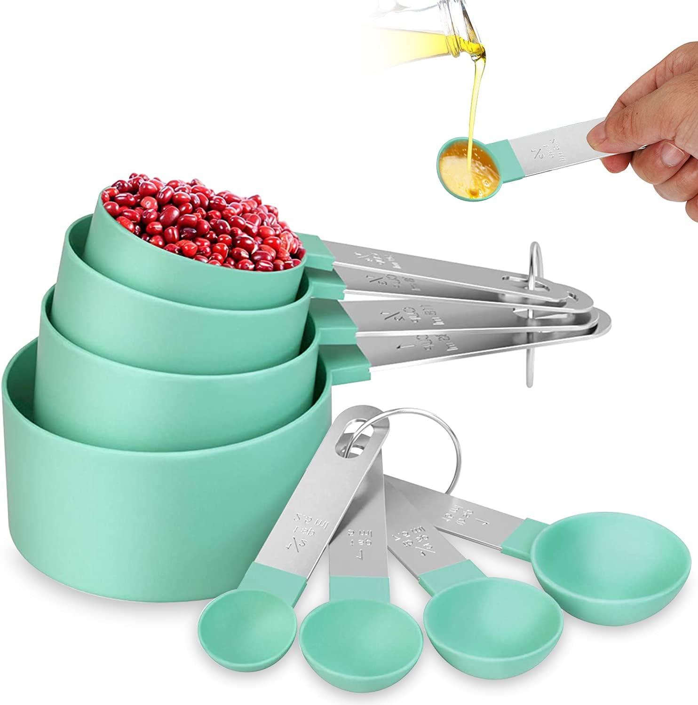 Cucharas Medidoras y Tazas, Set de 4 Tazas Medidoras y 4 Cucharas, Taza y Cuchara de Medición con Mango de Acero Inoxidable para cocinar dosificar ingredientes