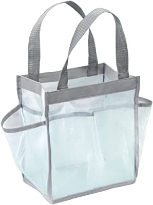 """iDesign Mesh Water-Resistant Shower Caddy Tote with Handles for Bathroom, College Dorm, Garden, Beach, 8.5"""" x 5.75"""" x 9.25"""" - Mint Green and Gray"""
