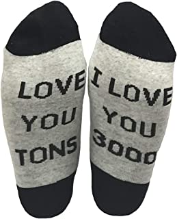 Funcious I love you 3000 Novelty Socks Crew Socks Gift Idea for Dad,Mom,Lover,Children Funny Socks