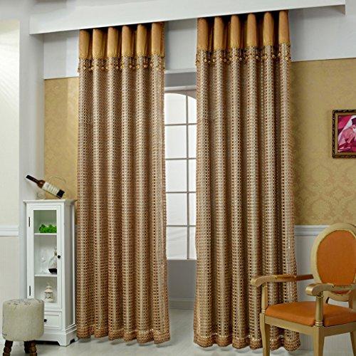 LINGZHIGAN Simple creux carrés rideaux Accueil chambre fini rideaux Warp écrans baie vitrée balcon mince fenêtre dépistage 2 panneaux (taille : L:3.0*H:2.7m)