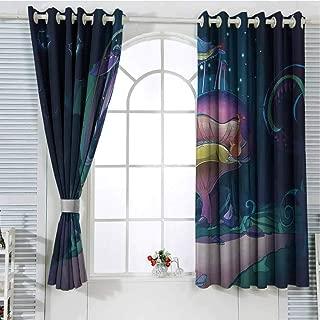 Jinguizi Grommet Window Curtain Window Decor Mushroom,Big Magical Plant in Fairytale Forest at Midnight Children Book Design Wonderland,Multicolor Wall Curtain 55 x 63 inch