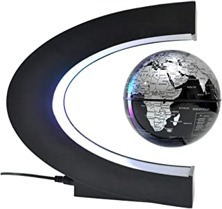 Leophoen Globe Magnetic Floating in Midair with Colorful LED Light for Interactive Education Novelty Promotion Gift and Desk Decoration (Silver Black)