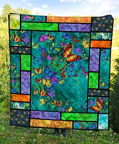 Colorful Butterfly Quilt Blanket Outdoor Picnic Beach Blanket Twin Throw Queen King Size Bed Quilts Best Decorative for Bed, Couch, Sofa, Chair, Swing, Daybed, Home Decor