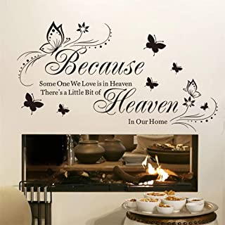 ufengke Heaven in Our Home Wall Stickers Quotes and Sayings Wall Decals Art Decor for Bedroom Living Room