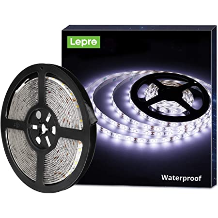 Lepro 12V LED Strip Light, Flexible, Waterproof, SMD 2835, 16.4ft Tape Light for Christmas, Home, Kitchen and More, Daylight White(Power Adapter not Include)