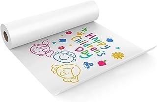 KAVAVO Rouleau De Papier Blanc, 50cm x 5m, Rouleau De Papier Kraft Blanc, Idéal pour Le Papier Chevalet, Le Papier pour Ta...