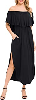 VETIOR Womens Off The Shoulder Ruffle Side Split Maxi Dresses with Pockets