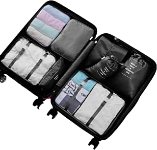 Etercycle Mesh Packing Cubes Travel Luggage Organiser Bags for Backpack Suitcases, Durable Zippers, XL Size (8Pcs Set, Black), X-Large