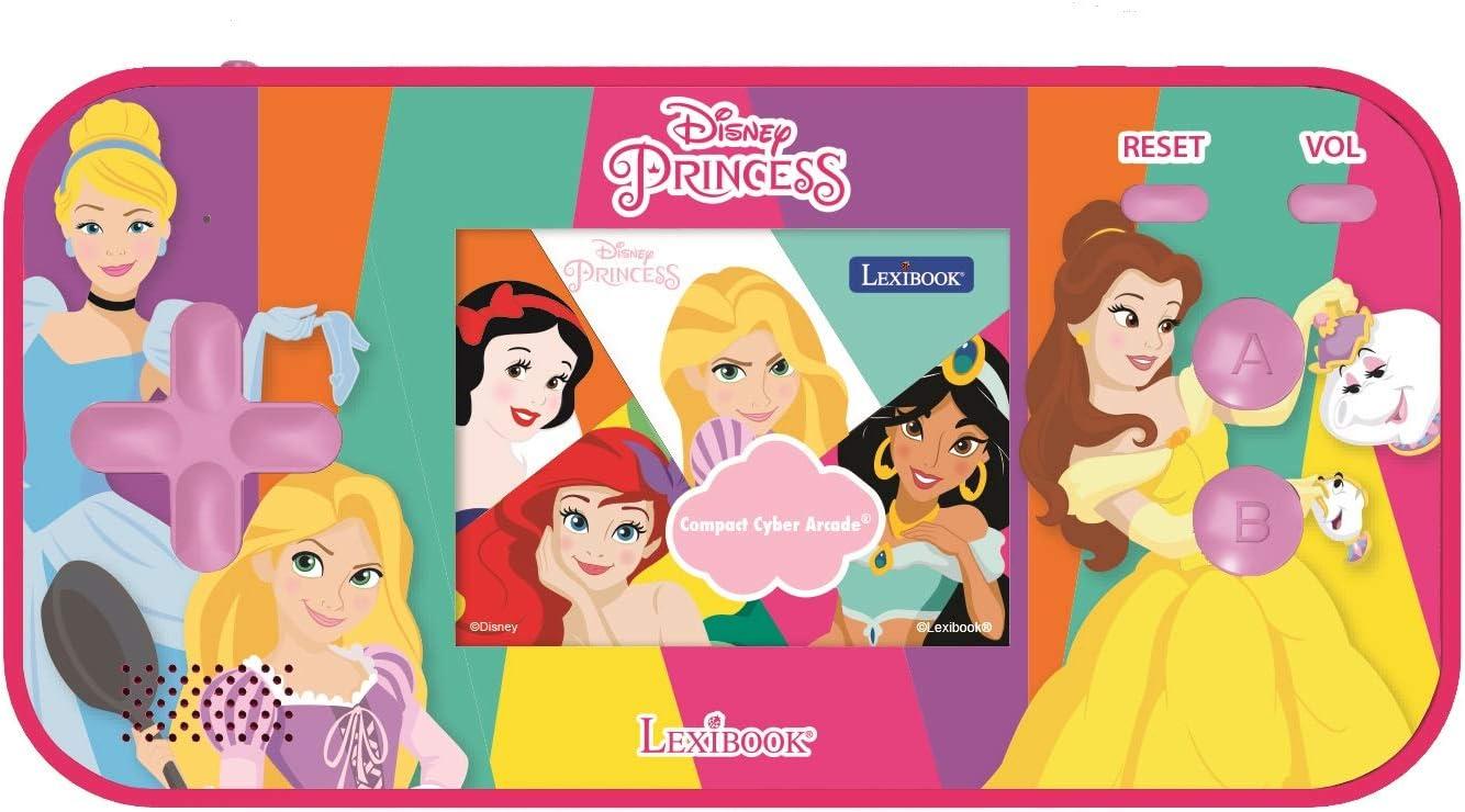 LEXIBOOK- Disney Princess Cinderella Ariel Rapunzel Compact Cyber Arcade Consola portátil, 150 Juegos, LCD, Funciona con Pilas, Rosa