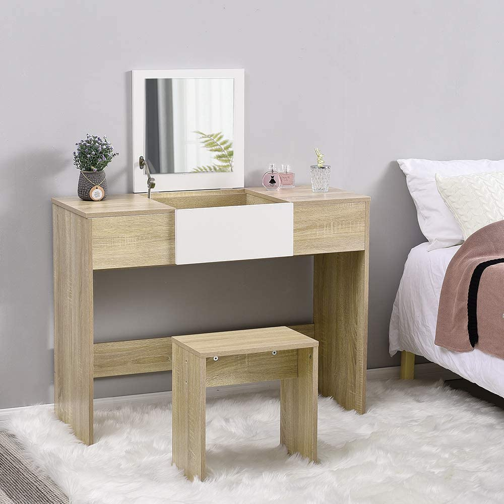 White and Black Modern Dressing Table Set with Flip-up Mirror Wood Makeup Table Vanity Console Dresser with Stool Bedroom Furniture Girls Gift