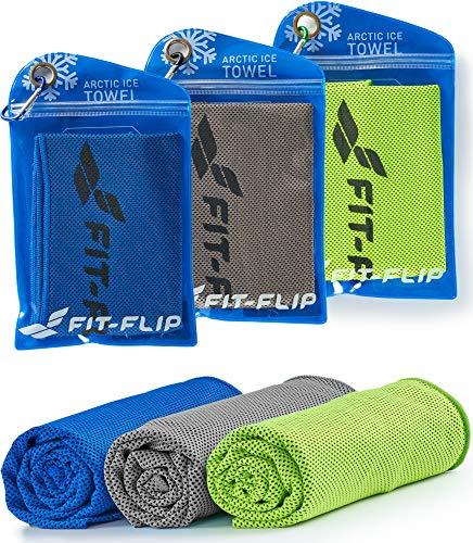 Fit-Flip Kühltuch 3er Set 100x30cm, Mikrofaser Sporthandtuch kühlend, Kühltuch, Cooling Towel, Mikrofaser Handtuch, Farbe: grün/dunkel blau/grau, Größe: 100x30cm