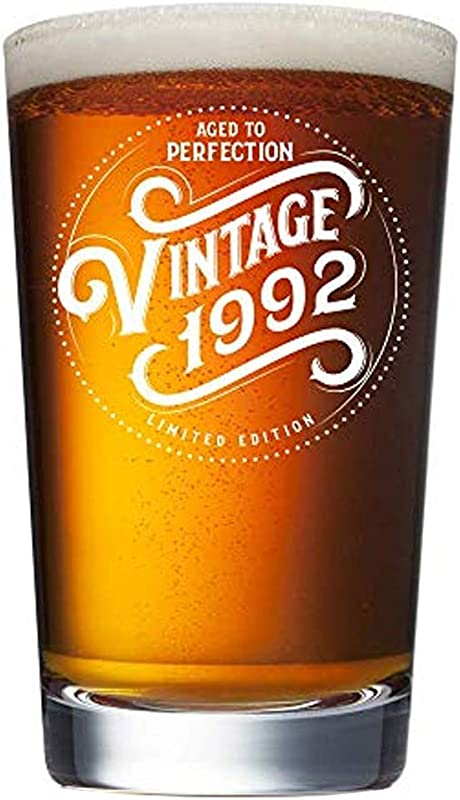 1992 27th Birthday Gifts For Men And Women Beer Glass Funny Vintage 27 Year Old 16 Oz Pint Glasses For Decorations Party Supplies Anniversary Gift Ideas For Dad Mom Husband Wife Best Beers Mug