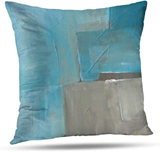 Alricc Abstract Art Pillow Cover, Blue Ocean Watercolor Rustic Grunge Square Watercolour Old Decorative Throw Pillows Cushion Cover for Bedroom Sofa Living Room 20 x 20 Inch