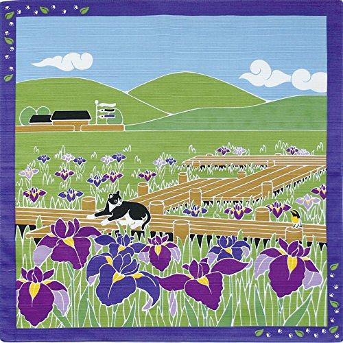 Furoshiki Serviette d'emballage japonaise 50 x 50 cm, Coton, Chat japonais iris mai., 19.685 inches, 50 cm Square