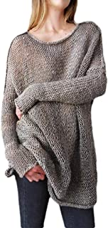 Women Plus Size Classic Jumper Knit Hollow Loose Fit Long Sleeve Sweater