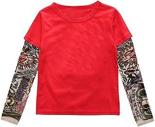 K-Youth para 1 a 6 años Ropa Bebe Niño Otoño Invierno Estilo Hip Hop Manga del Tatuaje Camiseta Bebe Blusa de Niños Ropa p...
