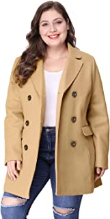 Agnes Orinda Women's Plus Size Notched Lapel Double Breasted Long Coat