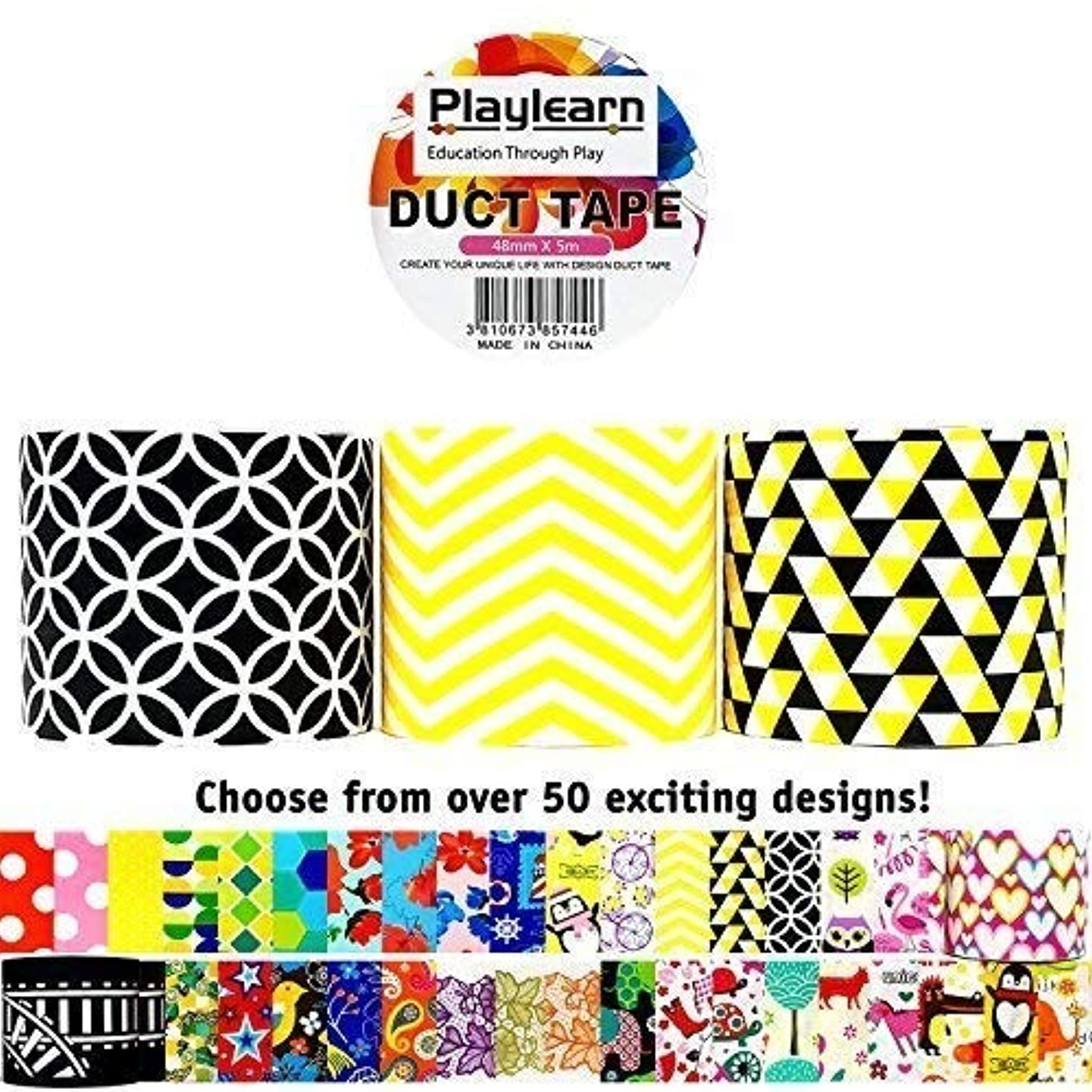 Design Duct Tape 48mm x 16 Feet - Kids Fun Extra Strong Printed Arts & Crafts Multi Pack - by Playlearn (Black & Gold)