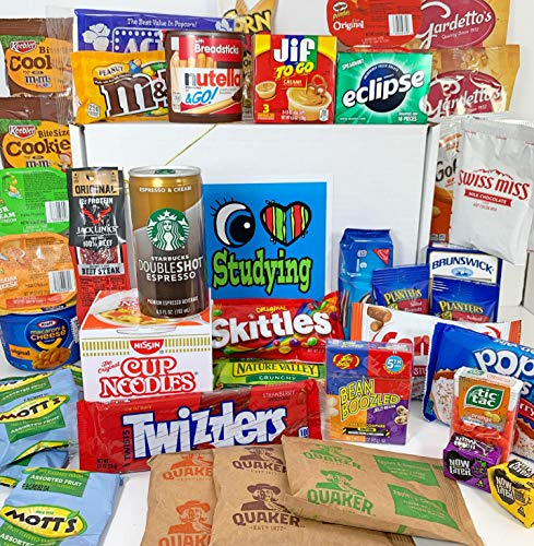 """Ultimate College Care Package """"I Love Studying"""" Gift Box Basket - Over 6 Pounds, Bundle of 44 Snack and Drink Items - High School, Undergrad, Graduate, Military, Graduate, Officer Training - Prime"""