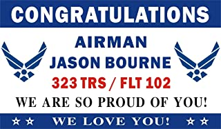 Alice Graphics 3ftX5ft Custom Personalized Congratulations Airman U.S. (US) Air Force Basic Military Training Graduation Banner Sign