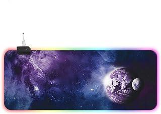ゲーミングマウスパッド 大型RGB カラフルなゲーミングマウスマット、PCデスクトップラップトップ用のソフトスムースキーボードパッド 800 x 300 x 4 MM