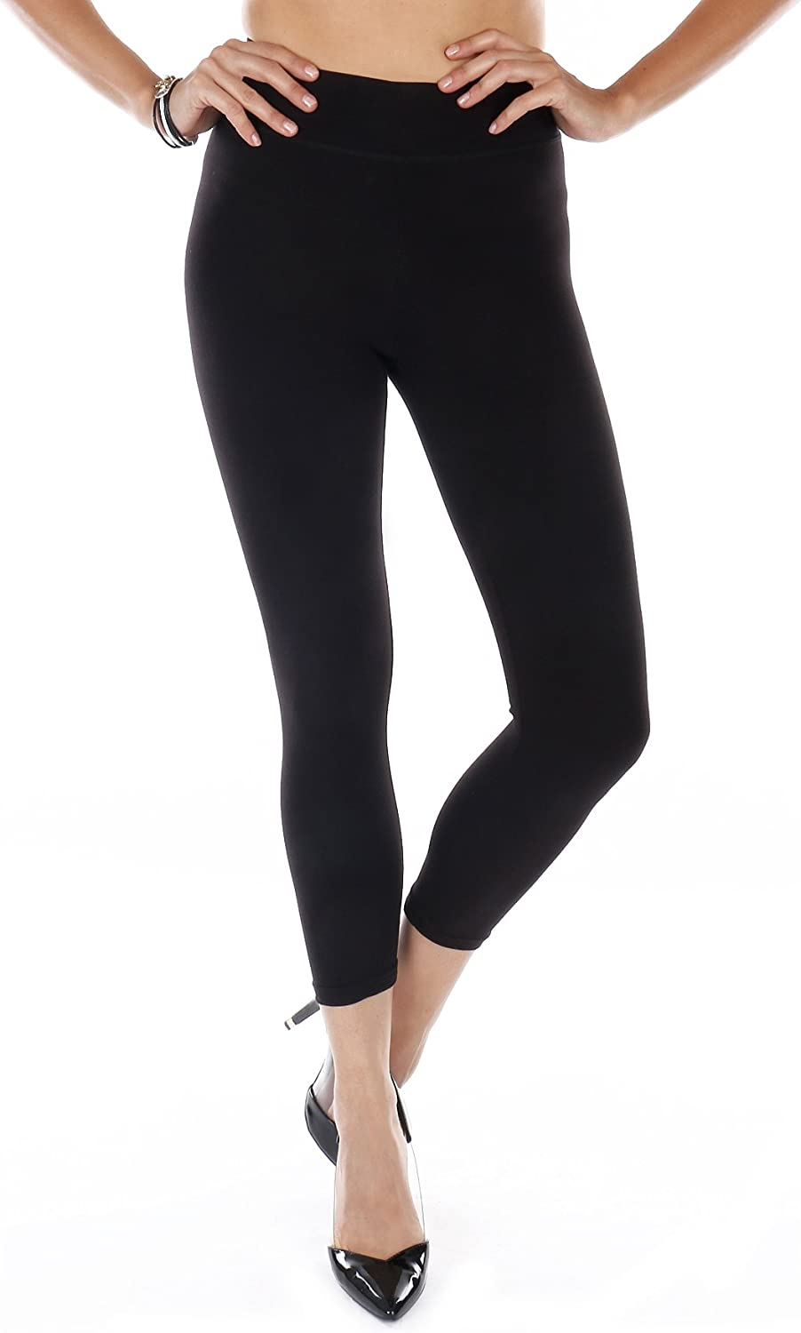 Premium Soft Cotton Capri Leggings- Stretchy, Breathable, Lightweight, Soft Cotton Fabric, 3-inches Wide Waistband