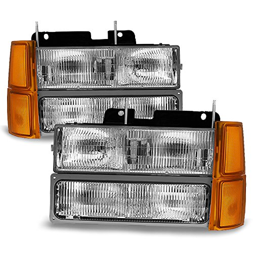 For 94-98 GMT400/480 Chevy GMC C/K Series Pickup Truck Suburban Blazer Tahoe Headlight + Bumper + Corner light
