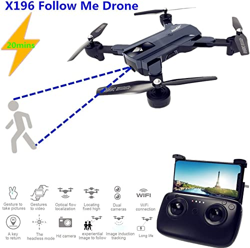 HUAXING Drohne mit Kamera 720P Foldable, RC Quadcopter mit 2MP 720P Wide Angle Camera Live Video, WiFi FPV Real Time Transmission Altitude Hold Headless Mode Speed Switch