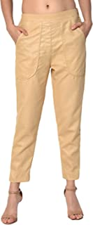 Shararat Women Matka Cotton Trouser Pants (Bpt014_Ow_28, 28, White)