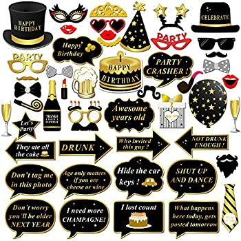Konsait Happy Birthday Party Photo Booth Props with Stick  49Counts  for Her Him Funny Birthday Black and Gold Decorations Happy Birthday Party Favors Supplies for kids Adults Men and Women