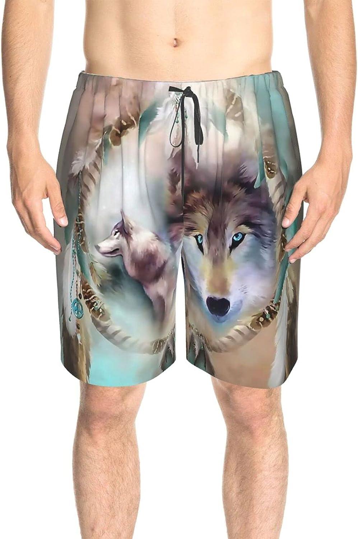 Men's Swim Shorts Cool Wolf Dream-Catch Swim Short Boardshort Drawstring Elastic Swimwear Beach Shorts with Pockets