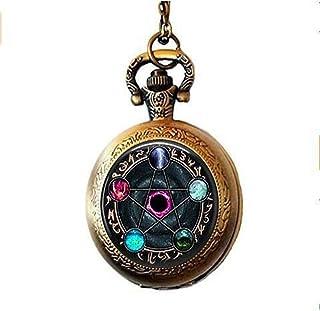 HE Ping, collana con orologio da tasca Wiccano, gioielli pagani in vetro cabochon