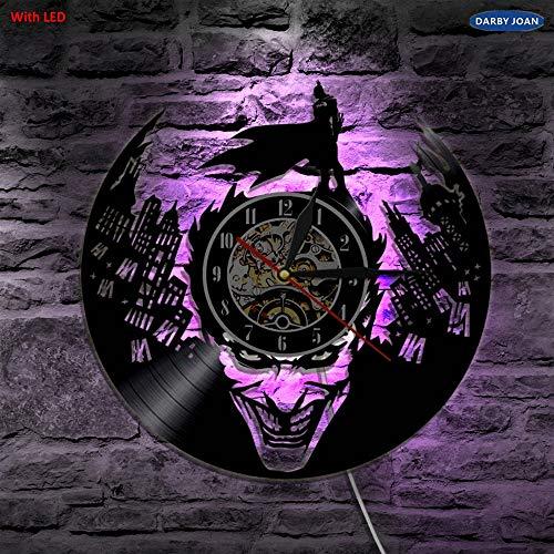 orologio da parete vinile FANCYLIFE Joker Batman Gotham City LED Orologio da Parete in Vinile Illuminazione da Parete Cambio Colore Vintage LP Record Decor Light Remote Control