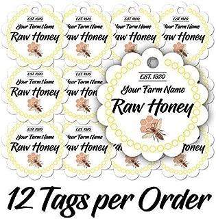 12 Raw Pure Honey Scalloped Jar Personalized Customized Kitchen Farm Mason Jar Custom Made Lids Tags (RH-01)