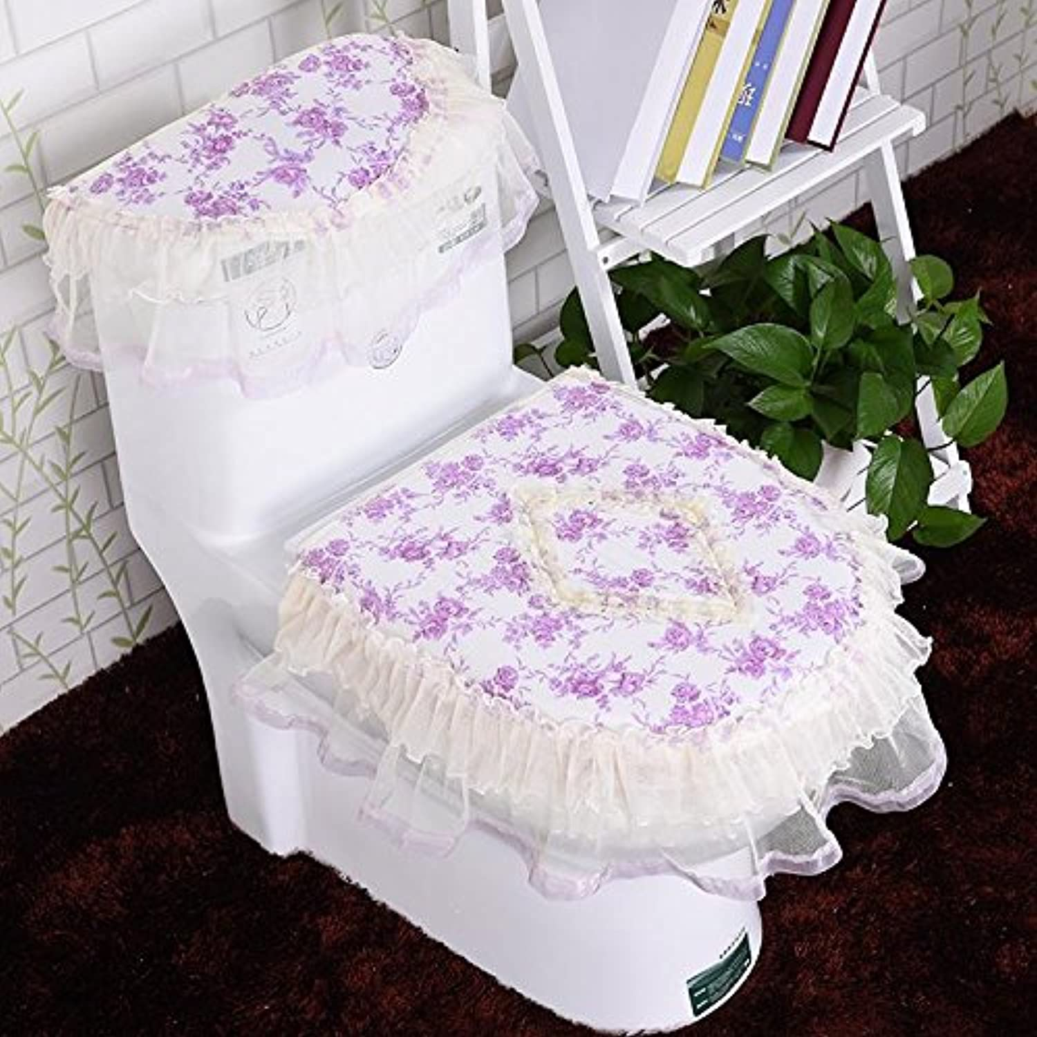 WANG-shunlida Toilet Cushion Zipper Antibacterial Toilet Set Three Piece Cloth Art A Thousand Beauties