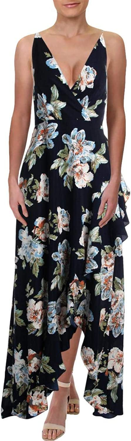 Aqua Womens Floral Ruffled Maxi Dress