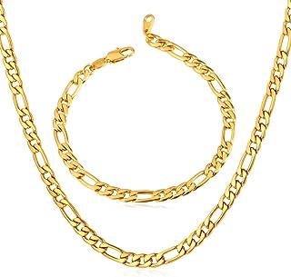 """جواهرات زنجیره ای مردان U7 5mm / 9mm / 12mm پهن از جنس استنلس استیل 18K با روکش طلای فیگارو (دستبند 8.3 اینچ ، گردنبند 18 """"20"""" 22 """"24"""" 26 """"28"""" 30 """"32"""")"""