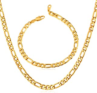 Jewelry Figaro Chain Wear Alone or Match Pendant, with Custom Engrave Service,Width 3mm/5mm/8mm/9mm/12mm 18K Gold Plated or Stainless Steel Necklace, 16-32 Inch