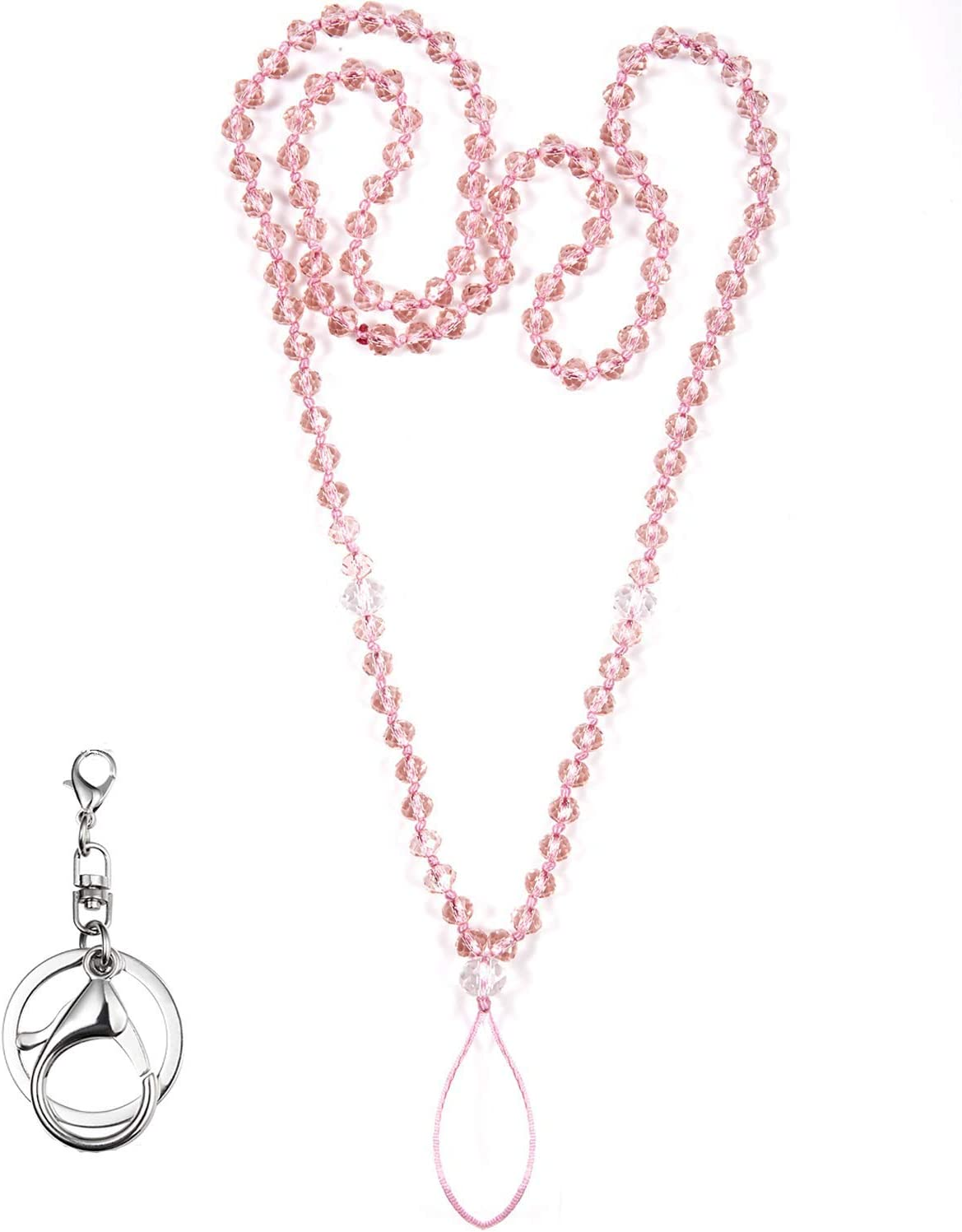 Women Crystal Bling Beads Neck Lanyard Strap ID Name Badge Holde Phone Card G5A4